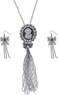 ALILANG - Set di orecchini a forma di arco nero Cameo Maiden Lady color argento