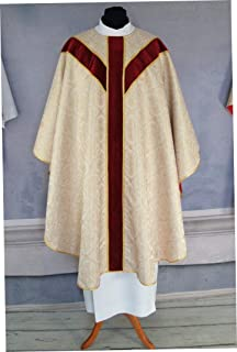 Casula liturgica, Casula d'oro in stile semi gotico con stola abbinata, Veste Casula Sacerdote
