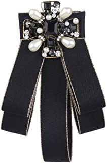 Sunvy Lady Bow Tie Women Fashion Vintage Bow Brooch Pin Crystal For Women