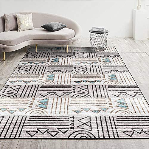 Alfombra alfombras niños Alfombra Decorativa del sofá de la Sala de Estar del Estilo geométrico Moderno Azul marrón alfombras Lavables Alfombra de habitacion 60*120cm