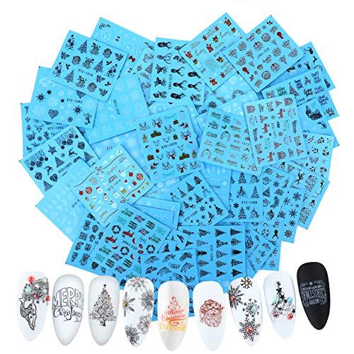 MWOOT 48 Blatt Christmas Nagelaufkleber,Weihnachten Nagel Sticker Abziehbilder,Nail Art Sticker,Nagel Wassertransfer Abziehbilder für Mädchen DIY Nagel Kunst Dekoration