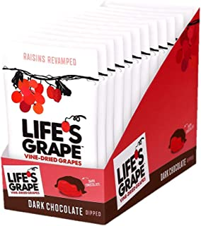 Life's Grape Dark Chocolate Dipped Raisins Vine Dried Grapes | Snack Box | .87 oz (12 pack) | Non-GMO, Gluten Free, Kosher