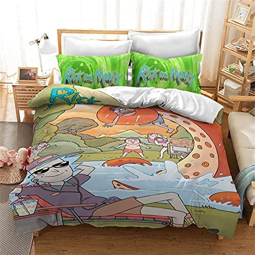 LKFFHAVD Rick and Morty Juego de ropa de cama Anime Rick Morty, funda de edredón con impresión 3D de microfibra de dibujos animados con fundas de almohada, para adultos y niños (200 x 200 cm,12)