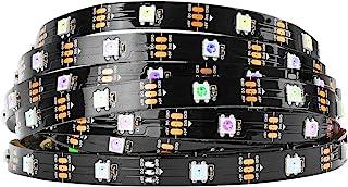 BTF-LIGHTING 16.4ft 5m WS2812b 30leds/pixels/m Flexible Negro PCB individualmente direccionable Tira Led Sueño en color no...