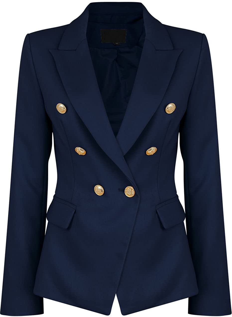 Double breasted suit women M L Nautical Military Tomboy Oversize Lightweight jacket size 8 80s dark navy blue with gold buttons blazer