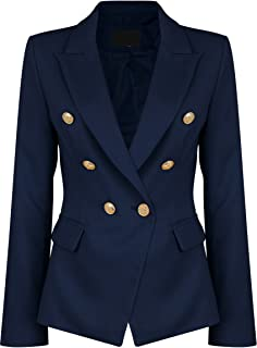 Womens Double Breasted Military Style Blazer Ladies Coat Jacket
