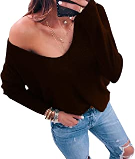 Coolred Womens Casual Sexy Baggy Style Knitting Cozy Regular Tops Blouses