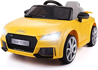 JAXPETY Yellow Audi TT 12V Electric MP3 LED Lights RC Remote Control Kids Ride On Car Licensed
