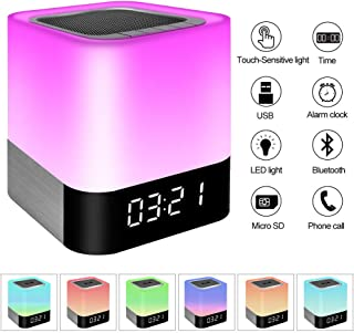Night Light Bluetooth Speaker, Touch Sensor Bedside Lamps, Wake up Light, Color Changing Dimmable Table Lamp, Digital Alarm Clock Night Light, for Kids and Adult Wireless Speaker with Lights