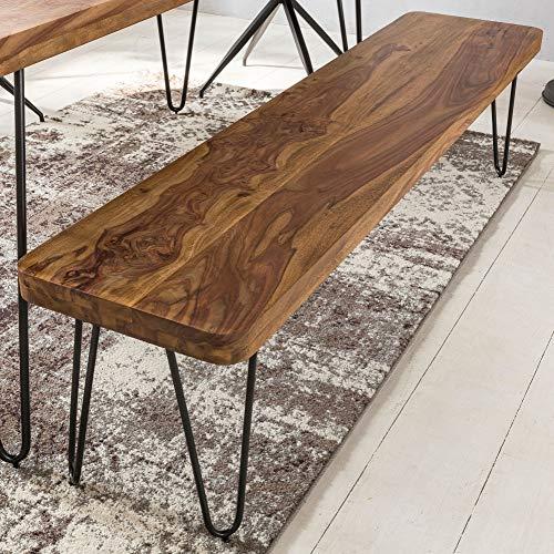 FineBuy Möbel zum Wohlfühlen Massive Sitzbank 180 x 40 cm Harlem Sheesham Holz Bank für Esstisch Massiv | Küchenbank Massivholz | Essbank ohne Lehne für Esszimmer