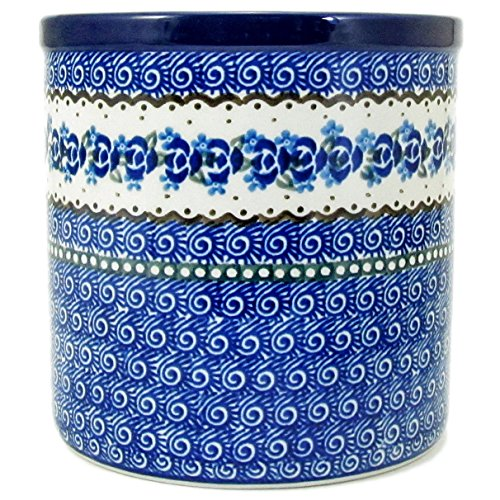Polish Pottery Hand Crafted 6'' Utensil Crock 003-Blue Roses