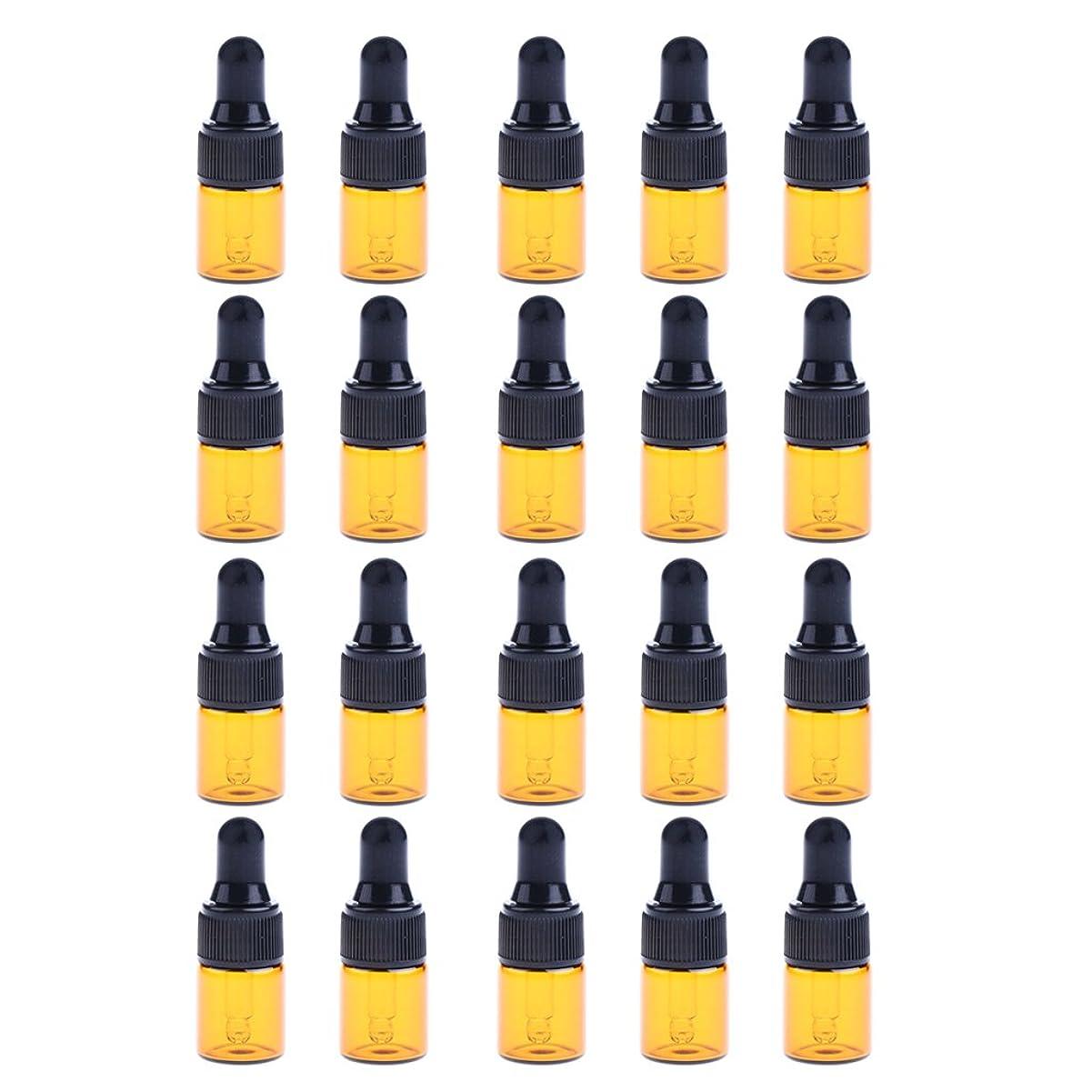 レキシコン描く遅いIPOTCH 約20個 ドロッパーボトル エッセンシャルオイル ミニサイズ 詰め替え可 ガラス スポイトボトル 3サイズ選べる - 1ML