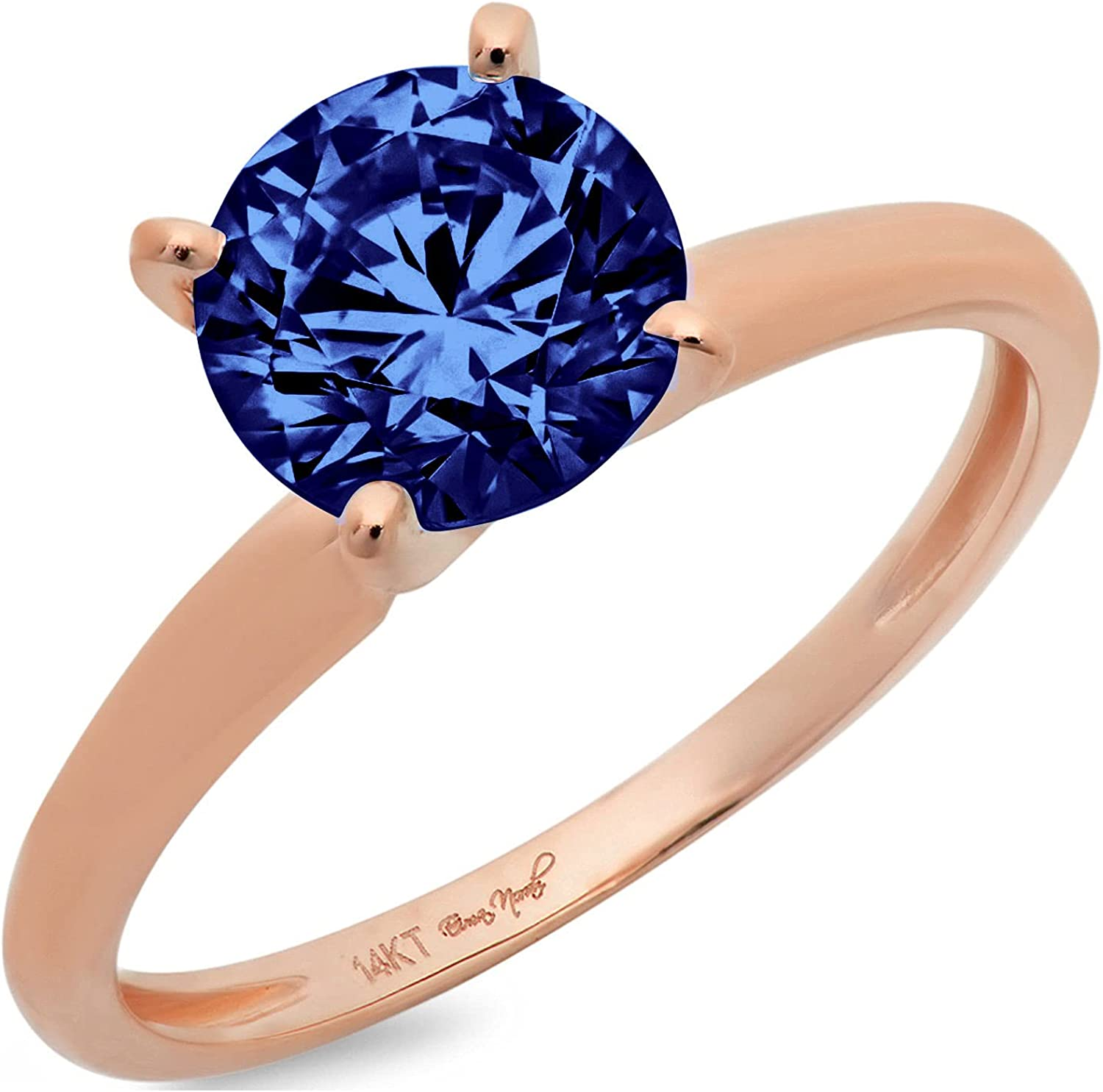 2.45 Over item handling ☆ ct Round Cut Solitaire Simulated Flawless CZ 5% OFF Tanzanite Blue