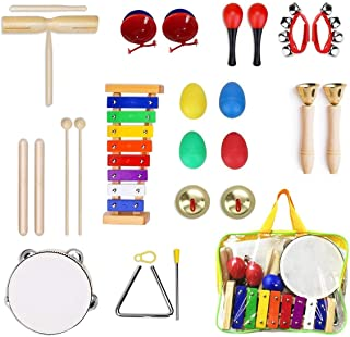 Ulifeme Instrument de Musique pour Enfant, 24 Pièces Instruments de Musique en Bois Percussion pour Bébé avec Xylophone, T...