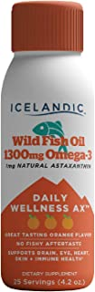Icelandic Wild Fish Oil Liquid, Daily Wellness 1300mg Omega 3, 1mg Astaxanthin, Orange Flavor, Keto Friendly, Gluten and D...