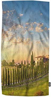 GhPeer Countryside Hand Towel Countryside Road with Cypresses Trees and Old House Against Sun with Rays and Beautiful Sky ...