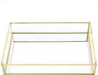 Fdit1 Boîtes de présentation de cosmétique de Bijoux de Plateau de Stockage en Verre de métal Vintage((Grande Taille))