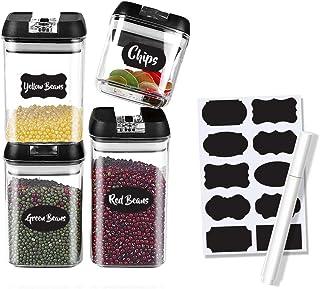 Boite de Rangement Cuisine Lot de 4, Bocaux Hermetiques Alimentaires en Plastique Scellée avec Couvercle Avec étiquettes e...