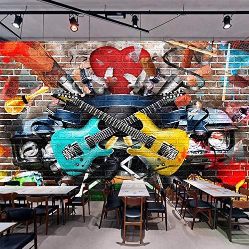 Xzfddn Personalisierte Individualisierung 3D Stereo Brick Wall Graffiti Gitarre Bar KTV Cafe Restaurant Wandbild Tapete 3D Sala