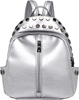 Extra Large Backpack Rivet Backpack Women Fashion Zipper Mini Soft Leather College Style Small Backpack Women Bag Bag Backpack Women Casual Diagonal Bag Fashion Shoulder Bag (Color : Silver)
