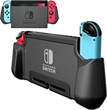 PZOZ Dockable Case for Nintendo Switch, Ergonomic TPU Grip and PC Protective Cover Ultra-Thin Case Compatible with Nintendo Switch Console and Joy-Con Controller (Black)