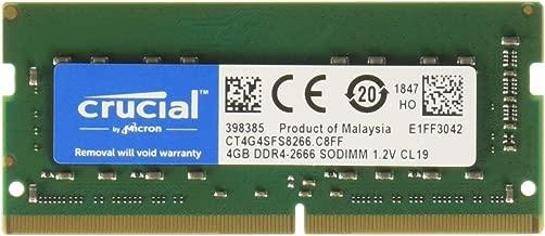 Crucial 4GB DDR4 SDRAM Memory Module - 4 GB - DDR4 SDRAM - 2666 MHz DDR4-2666/PC4-21300 - 1.20 V - Non-ECC - Unbuffered - 260-Pin - SODIMM