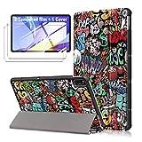 LJSM Funda para Samsung Galaxy Tab A7 2020 10.4' T505 / T500/ T507 + [2 Piezas] Vidrio Templado - Carcasa Silicona Tablet Cover con Soporte Función Caso PU Flip Case - Graffiti