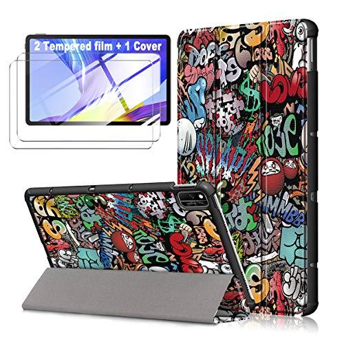 """LJSM Funda para Samsung Galaxy Tab A7 2020 10.4"""" T505 / T500/ T507 + [2 Piezas] Vidrio Templado - Carcasa Silicona Tablet Cover con Soporte Función Caso PU Flip Case - Graffiti"""