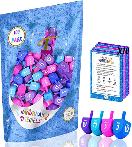 The Dreidel Company Wood Multi-Colored Dreidels Medium Sized Hanukkah Draydels with English Transliteration - Includes 3 Game Instruction Cards! (30-Pack)