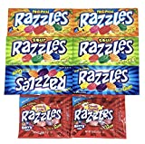 Razzles Gum Candies Variety Pack of 4 Flavors: Berry, Fizzles, Sour, Tropical , and Original (2 of each flavor, Total of 8)