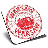 Great Single Coaster Square - Warsaw Poland Europe Travel Stamp |Glossy Quality Coasters | Tabletop Protection for Any Table Type #5969