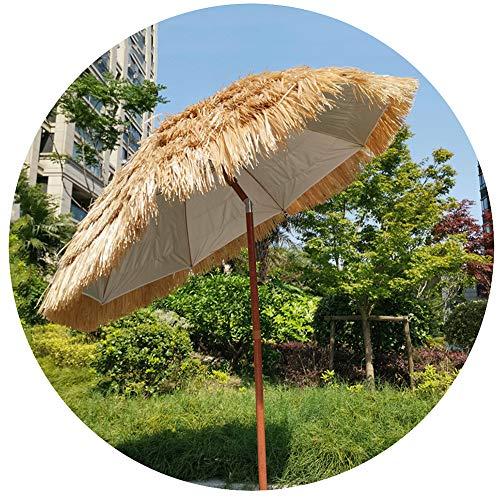 Ombrellone di Paglia Hula da 2 M Ombrellone in Rafia Tiki Hawaiano Inclinabile, Ombrellone in Paglia da Giardino Terrazza, Colore Naturale