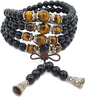 Pulsera de obsidiana de 6 mm, 108 cuentas, Mala budista tibetano budista ojo de tigre collar