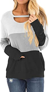 Women's Color Block Long Sleeves Tunic Cutout Choker Tops Crew Neck Casual Loose Blouses Cute Sweatshirts