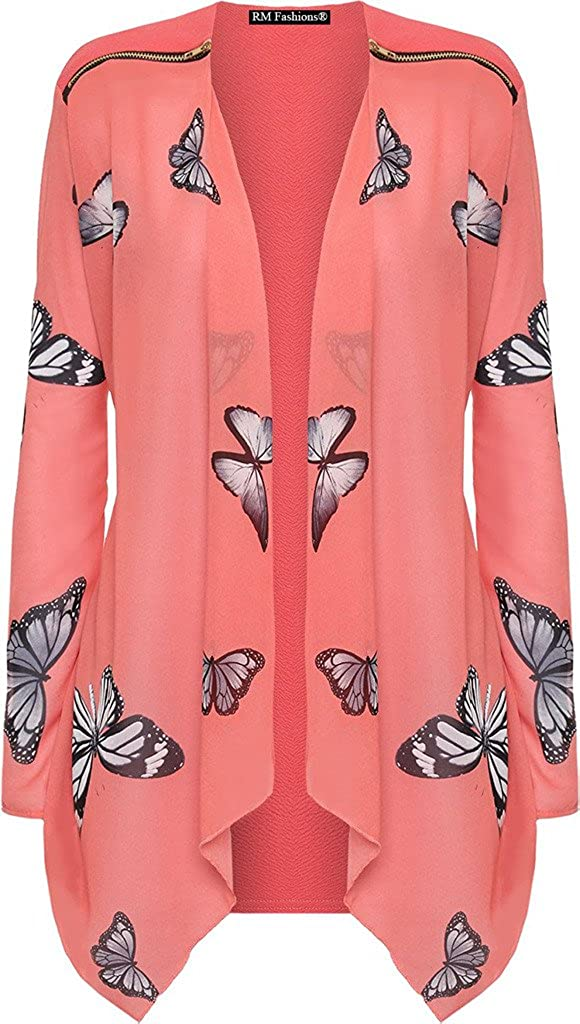 RM Fashions Women's Plus Size Long Sleeve Chiffon Zip Shoulder Butterfly Print Sheer Cardigan Top (from US 10 to 24)