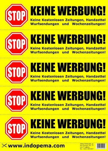 Keine Werbung! 4x5 gelbe Briefkastenaufkleber - Aufkleber - Keine kostenlosen Zeitungen, Handzettel, Wurfsendungen und Wochenzeitungen! Für den Briefkasten/Zeitungsrolle