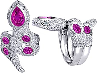 Good Luck Snake Ring with Created Pink Sapphire Stones Sterling Silver