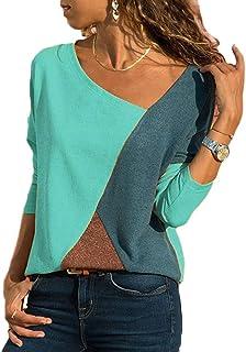 1e8157976b38 Escote de Pico Camiseta Casual Bloque de Color Blusa Superior Damas Manga  Larga Asimétrica Tallas Grandes