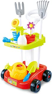 Garden toy cart for kids with gardening tools   Educational toys for children   23' Tall wheeled cart trolley   pretend play toys for kids   two shelves   2 Rakes, 2 Flower Pots, Watering Spray Bottle, Scissor, Flower Watering Pot, and Shovel