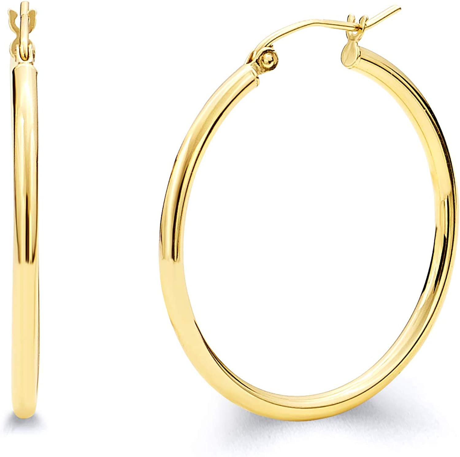 14k REAL Yellow Gold 2mm Thickness Hinged Hoop Earrings - 10 Different Size Available