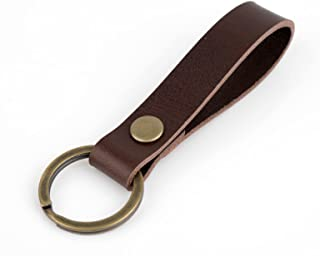 Richbud Vegetable Leather Keychain POB Solid Metal Bronze Handcraft Key Ring Lanyard Handmade (Dark Brown)