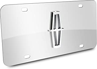 Au-Tomotive Gold, INC. Lincoln 3D Logo Chrome Stainless Steel License Plate,Chrome,12