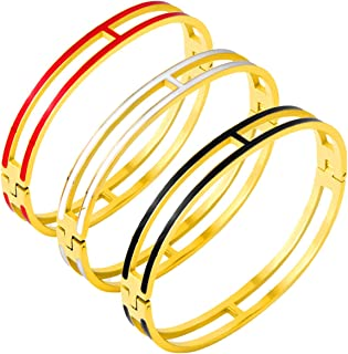 Fly.BUCKNOR Women's Fashion Classic Lovely Brilliance Bracelet - Titanium Steel Red and Green Bracelets 6.7 Inch