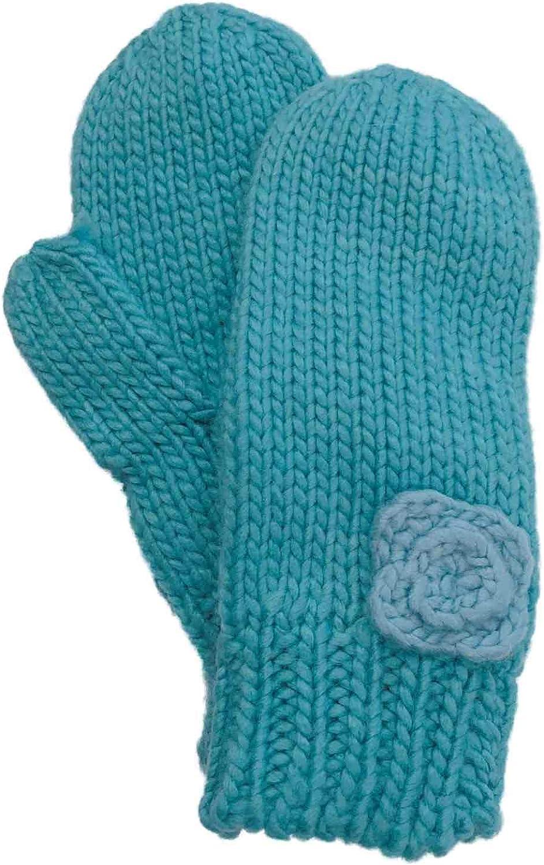 Womens Blue Knit Rosette Winter Mittens