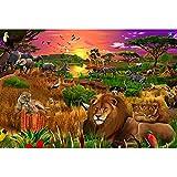 JW-MZPT Wooden Puzzle, Anime-Landschaft Dekomprimierung pädagogisches Spielzeug Porch Dekoration Malerei, Wald Tier-Puzzle,2000pieces