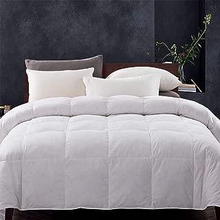 WhatsBedding White Goose Duck Down Comforter 100% Cotton Feather Comforter - Lightweight Duvet Insert - Queen 88x88