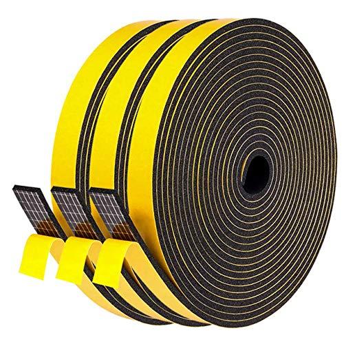 """Fowong Weather Stripping Soundproofing 3 Rolls, 1/2"""" W X 1/8"""" T X 48' L, High Density Rubber Foam Tape Window Gasket Seal Adhesive Foam Strip, 3 Rolls X 16 Ft Total 48 Feet"""