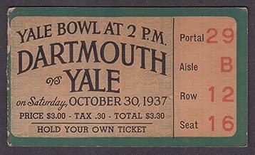 Dartmouth vs Yale college football ticket stub Yale Bowl 1937