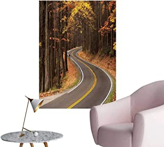 Camerofn Fall Wall Mural Wallpaper Stickers Curvy Roadway Through The Forest Great Smokey Mountains Change of Seasons Traveling Bedroom Wall Multicolor W16 x H20