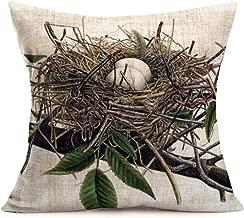 ShareJ Retro Bird's Nest Decorative Pillow Covers Home Decor Nice Gift Indoor/Outdoor 18x18 Inch Square Cotton Linen Pillowcase
